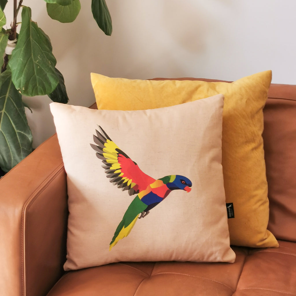 Rainbow Lorikeet Cushion in Dusty Pink by Cockatoo Collection