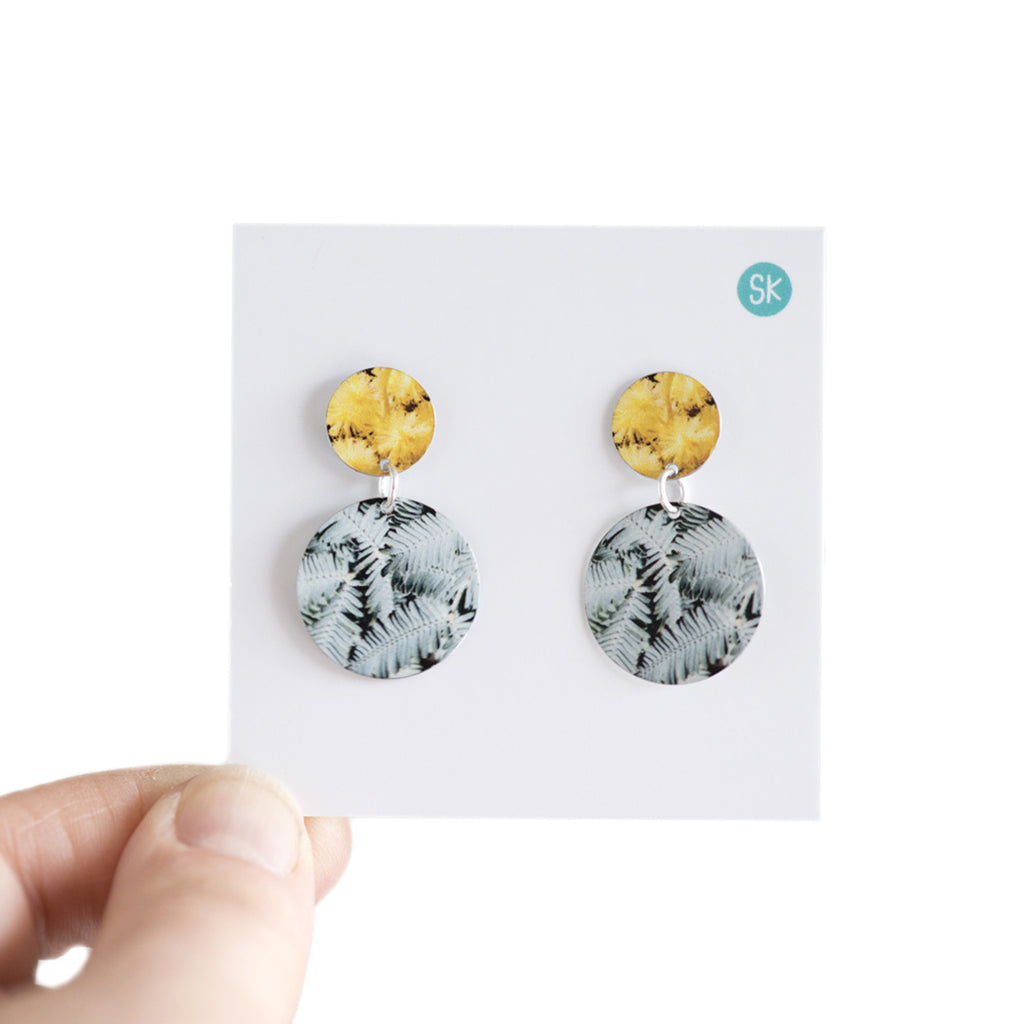 GOLDEN WATTLE DOUBLE STUD EARRINGS