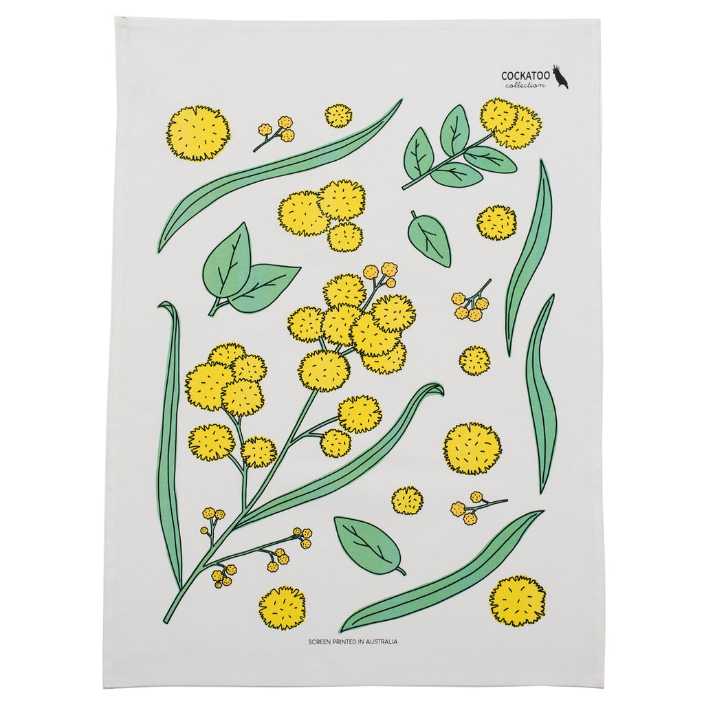 Golden Wattle Tea Towel by Cockatoo Collection - Australiana Gift / Australian Souvenir