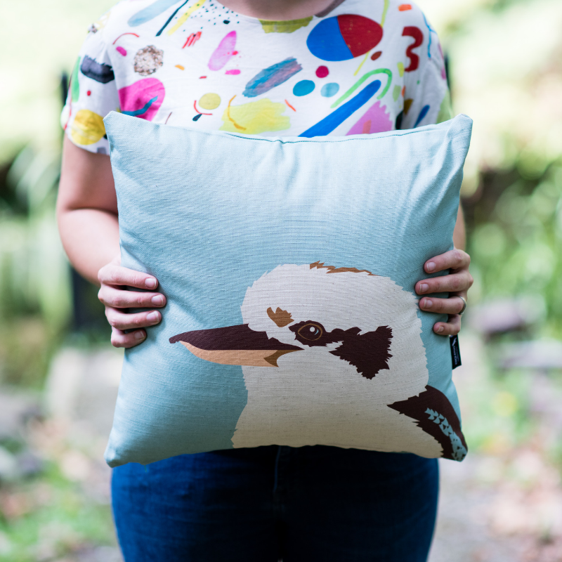 KIKI THE KOOKABURRA CUSHION IN TEAL