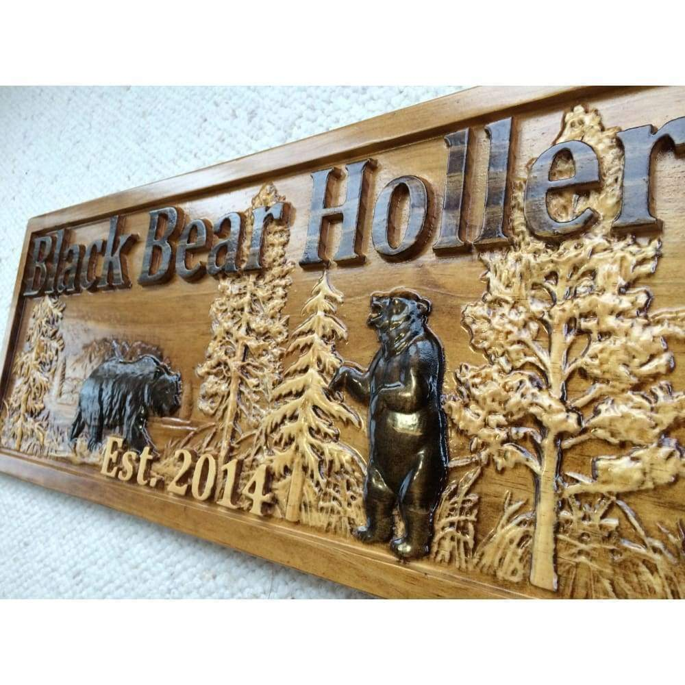 Personalized Wooden Bear Sign - 3D Woodworker