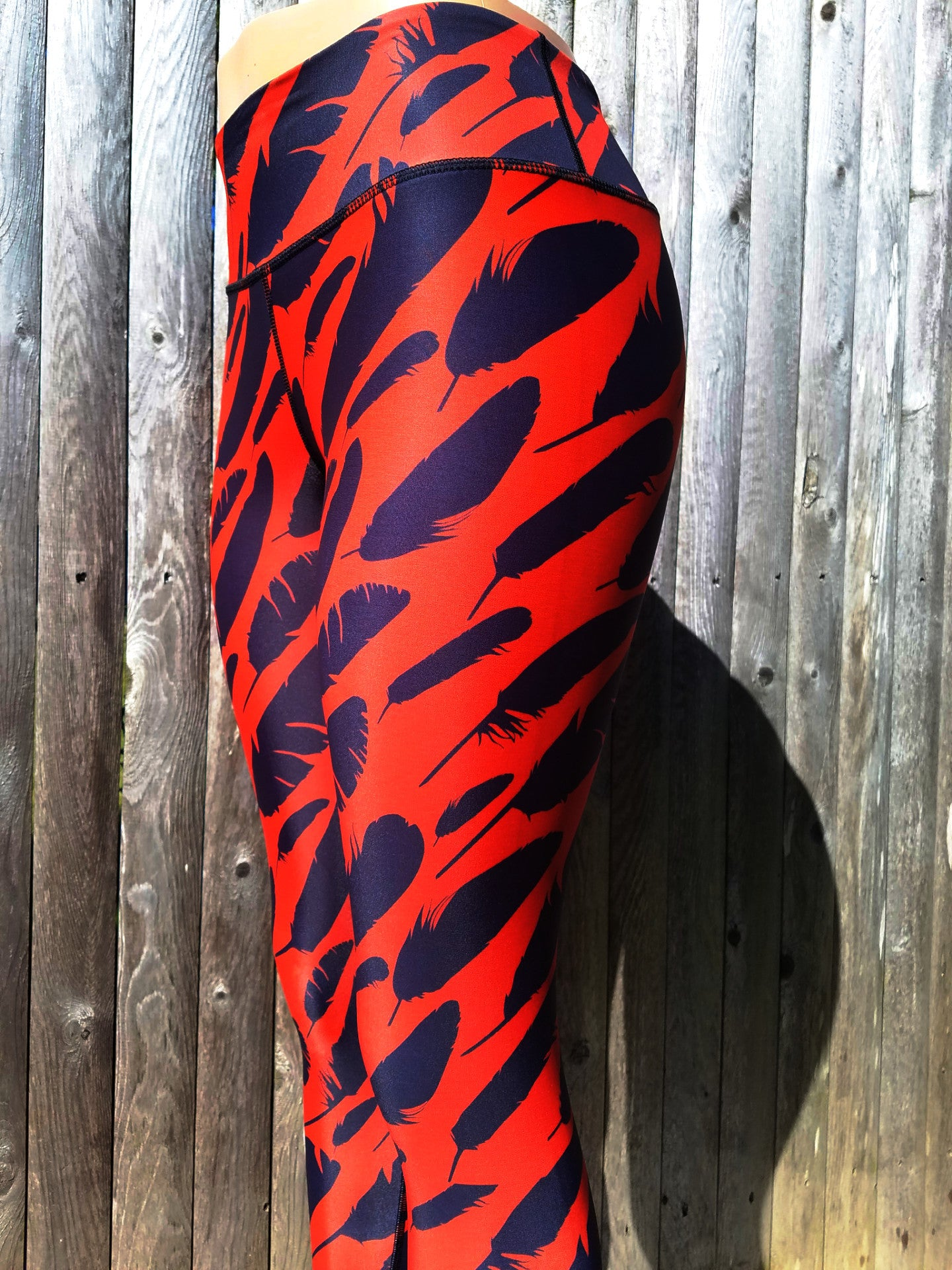 Black Feather Workout Leggings