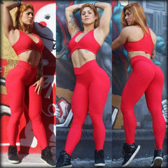 BUBBLE RED V WAIST (SCRUNCH) - NYLeggings.com