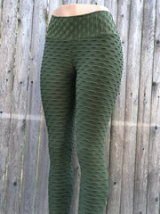 Bubble Army Green Tights for Women