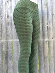 Bubble Army Green Workout Leggings