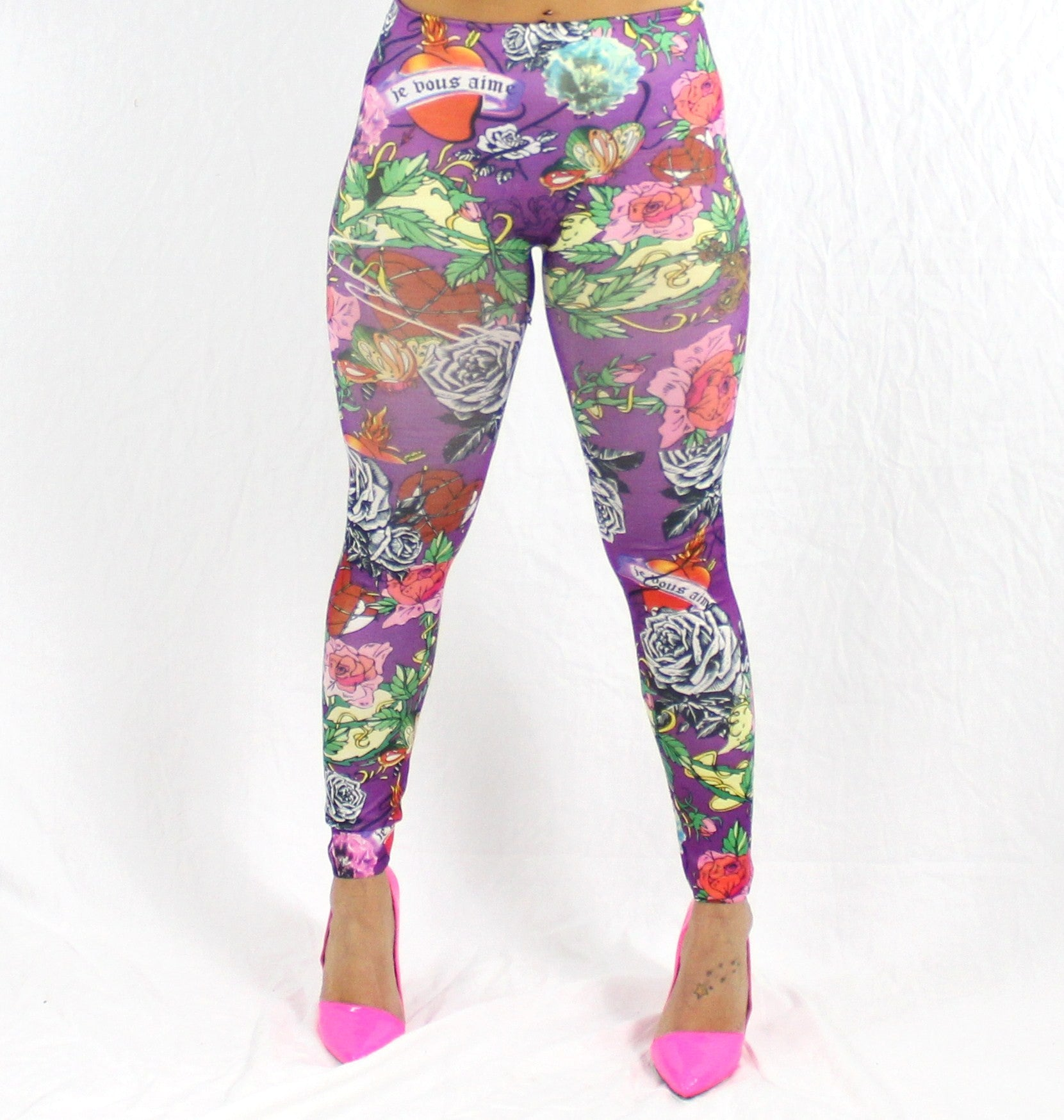 PURPLE ROSES - NYLeggings.com  - 1