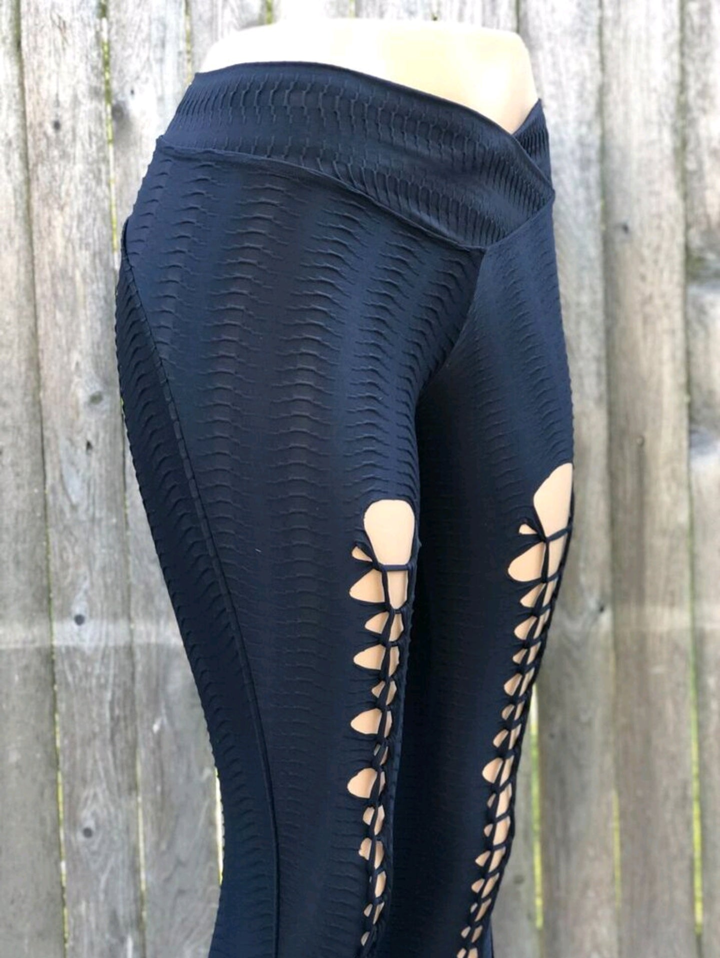 PYTHON BLACK V SLICE-NYLeggings.com