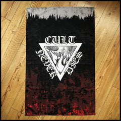 CULT NEVER DIES large flag / textile poster