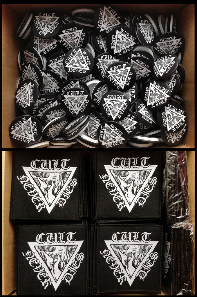 Cult Never Dies high quality woven patch (10cm) and pin badge (4.5cm)