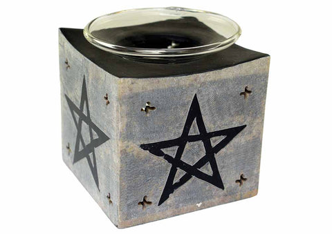 Soapstone Pentagram Oil Burner ~ Black