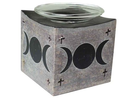 Soapstone Triple Moon Oil Burner ~ Black