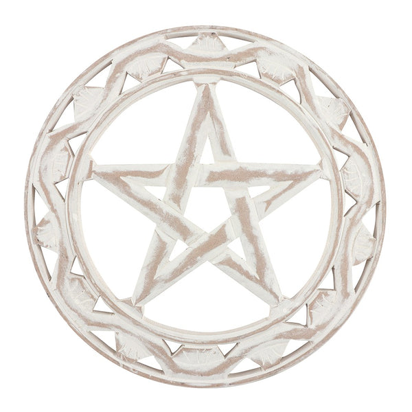 White Rustic Pentagram Plaque