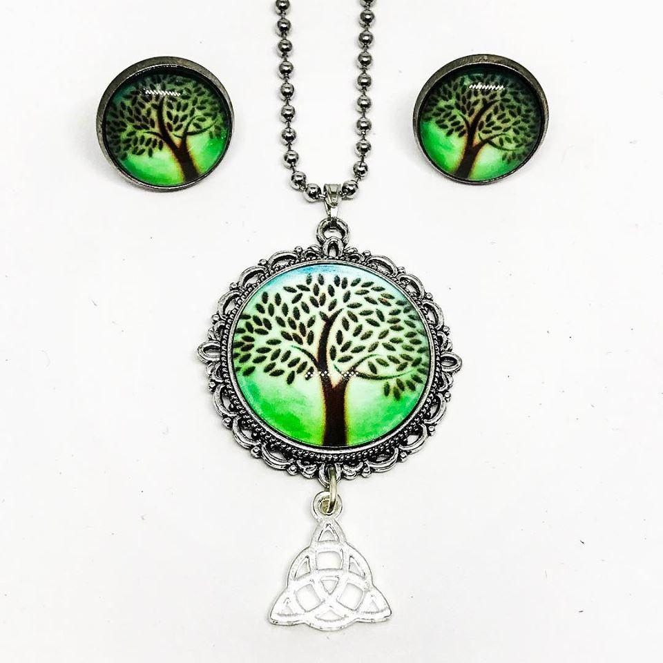 of quartz beads green amazon eternal com jewelry dp long stone necklace tree life yhtl brass