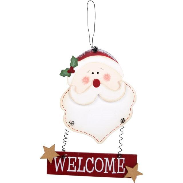 Christmas & Yule Decorations Wooden Santa Welcome Sign