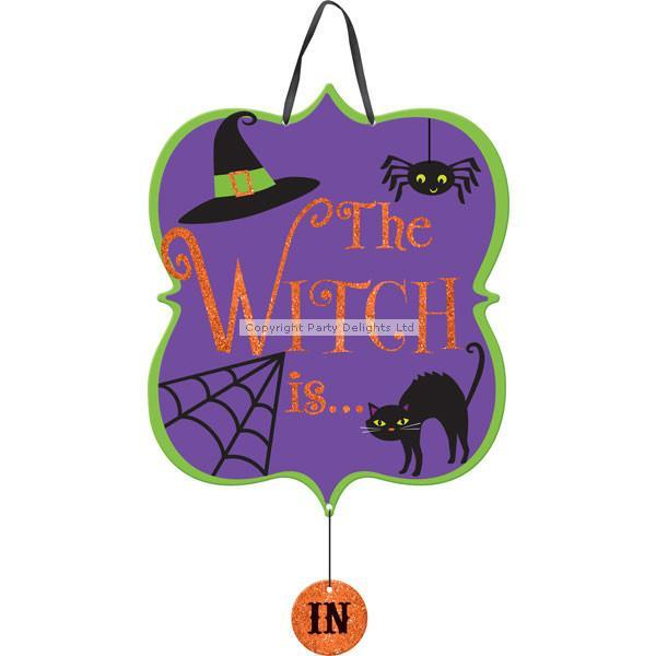Halloween The Witch Is In/Out Sign - 38cm