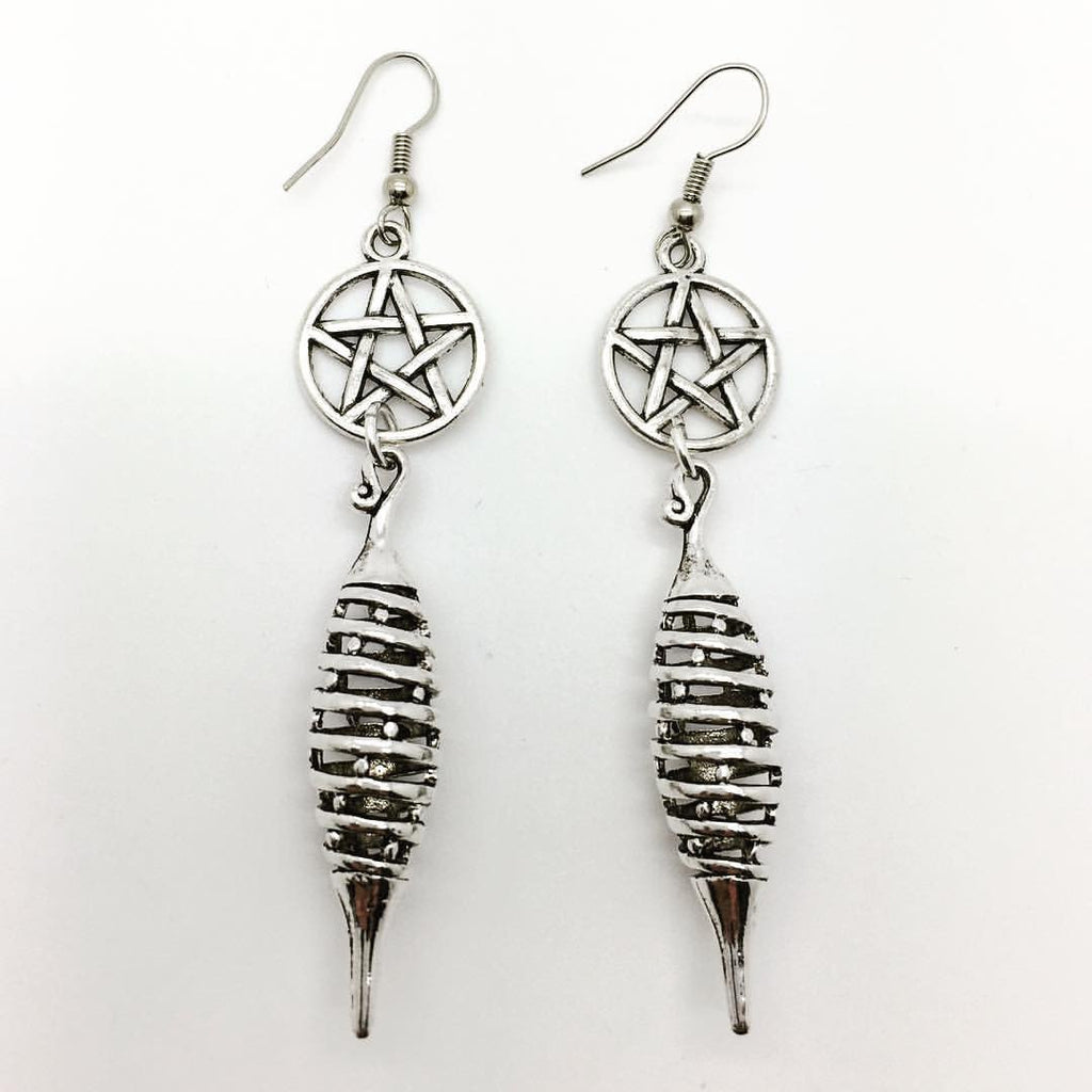 Home & Outdoor Decoration,Jewellery Spiral Pentacle Earrings