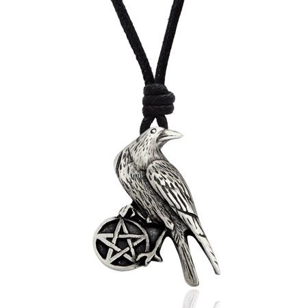 Raven Pentacle Necklace ~ Pewter