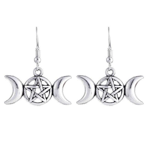 Triple Moon Pentacle Earrings