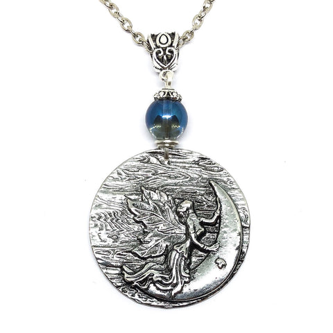Leaf Winged Moon Goddess Necklace
