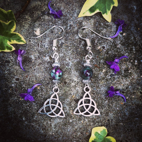 Ruby Zoisite Triquetra Earrings