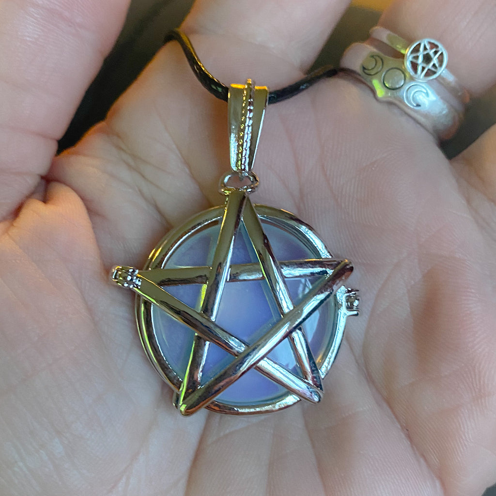 Opalite Pentacle Locket ~ Chain & Cord Options