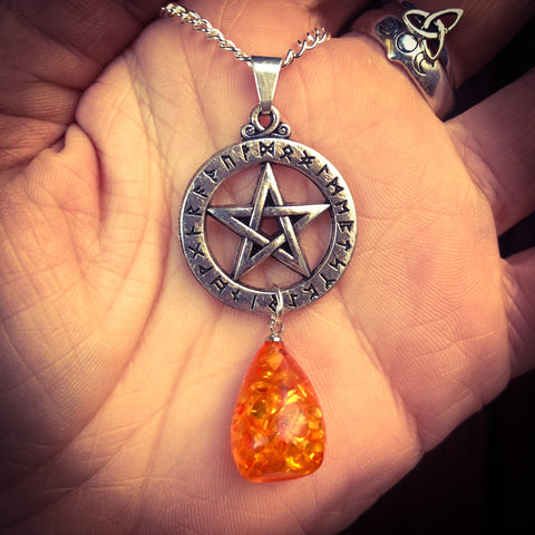 Amber Futhark Pentacle Necklace