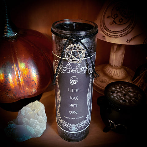 I Lit The Black Flame Candle ~ Crystal Infused Candle
