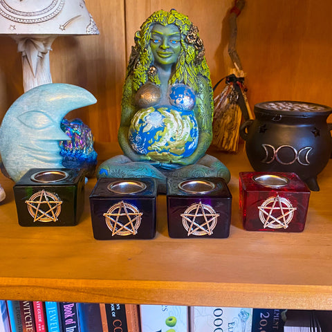Taper/Ritual Candle Holder ~ Pentacle Design