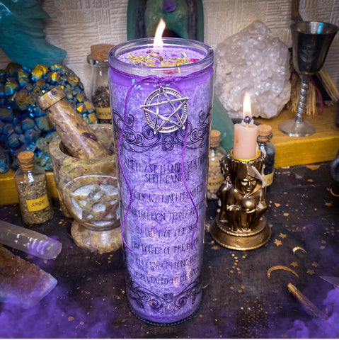 Amethyst Manifestation Jar Candle ~ Crystal Infused Candle