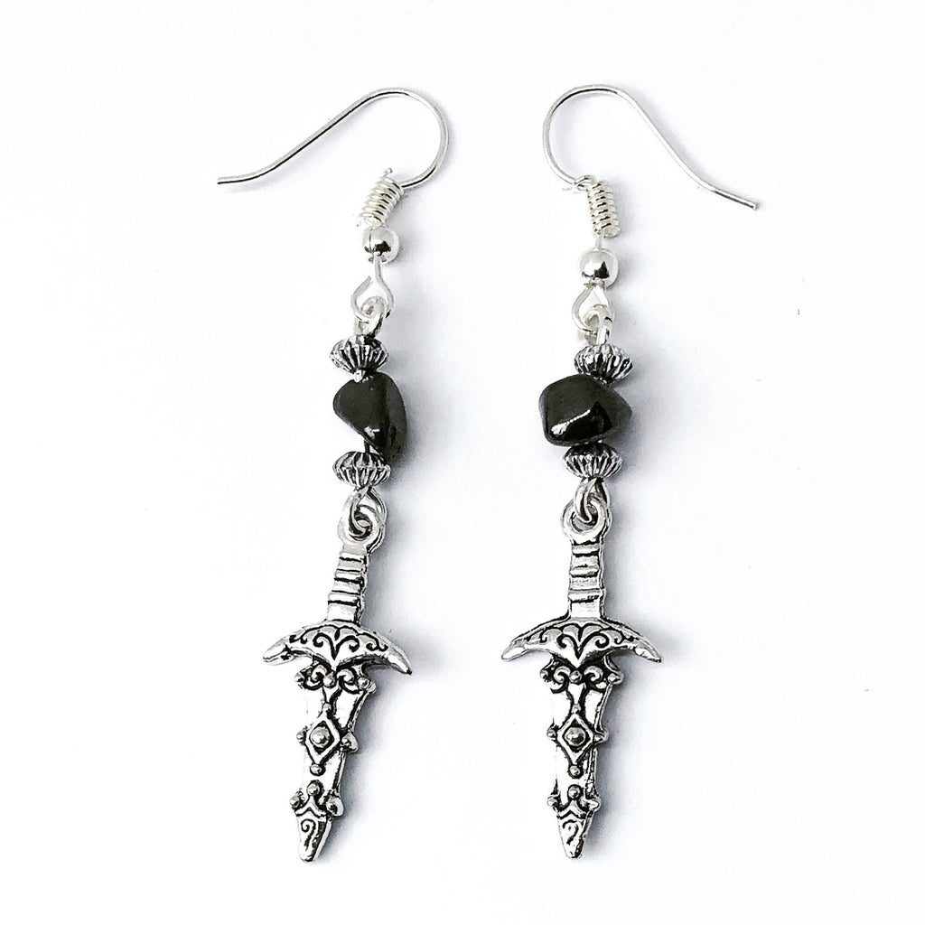 Onyx Athame Earrings