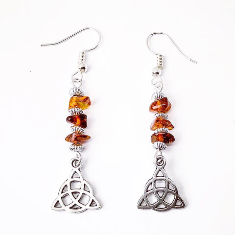 Amber Drop Triquetra Earrings