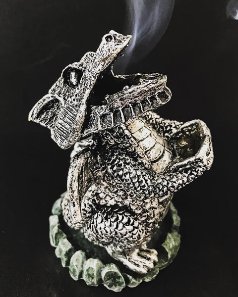 Incense, Oils & Accessories,Home & Outdoor Decoration Silver Dragon Incense Cone Holder