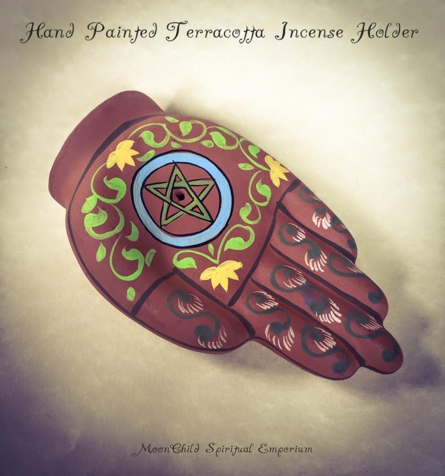 Incense, Oils & Accessories,Witch & Spell Craft Hand Painted Pentagram Hand Incense Holder