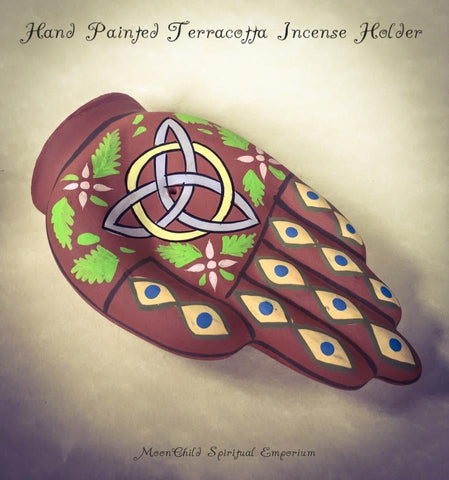 Incense, Oils & Accessories,Witch & Spell Craft Hand Painted Triquetra Hand Incense Holder