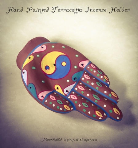 Incense, Oils & Accessories,Witch & Spell Craft Hand Painted Yin Yang Hand Incense Holder