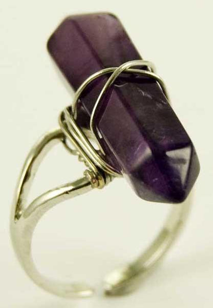 Jewellery Amethyst Crystal Point Energy Ring