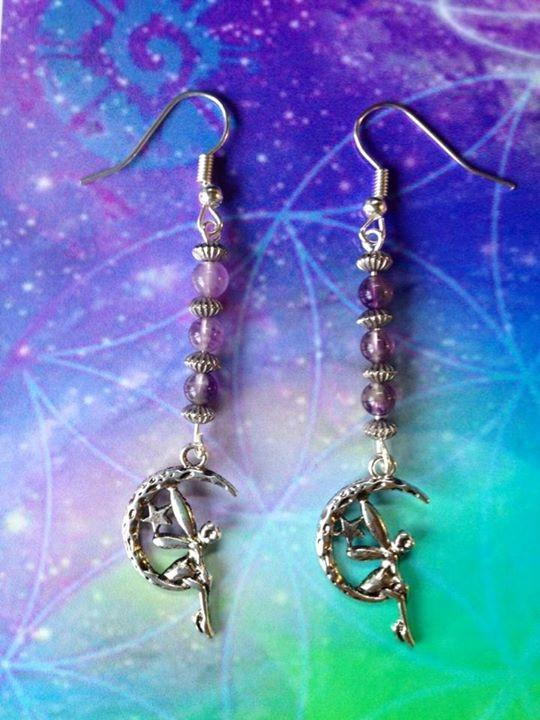 Jewellery Amethyst Fairy Moon Earrings ~ Custom Crystal Beading