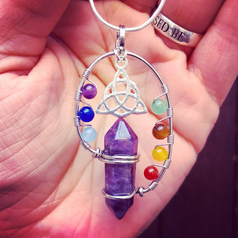 Jewellery Amethyst / Snake Chain Triquetra Chakra Point Necklace