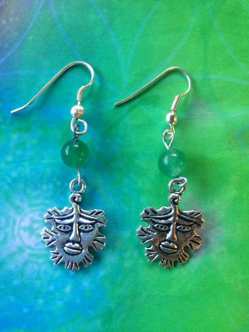 Jewellery,Angels, Gods & Goddess Green Man - Aventurine Tree Spirit Earrings