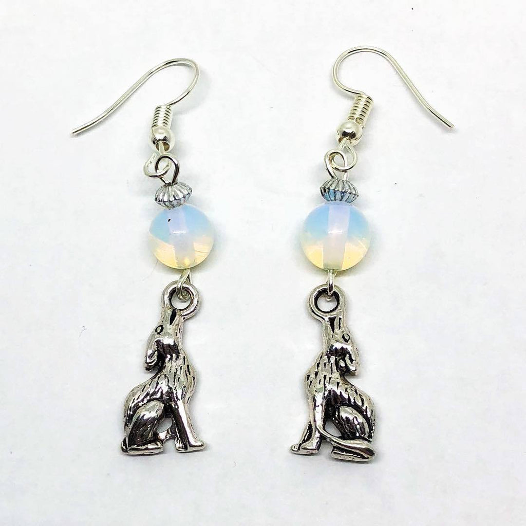 Jewellery,Angels, Gods & Goddess Opalite Moon Wolf Earrings