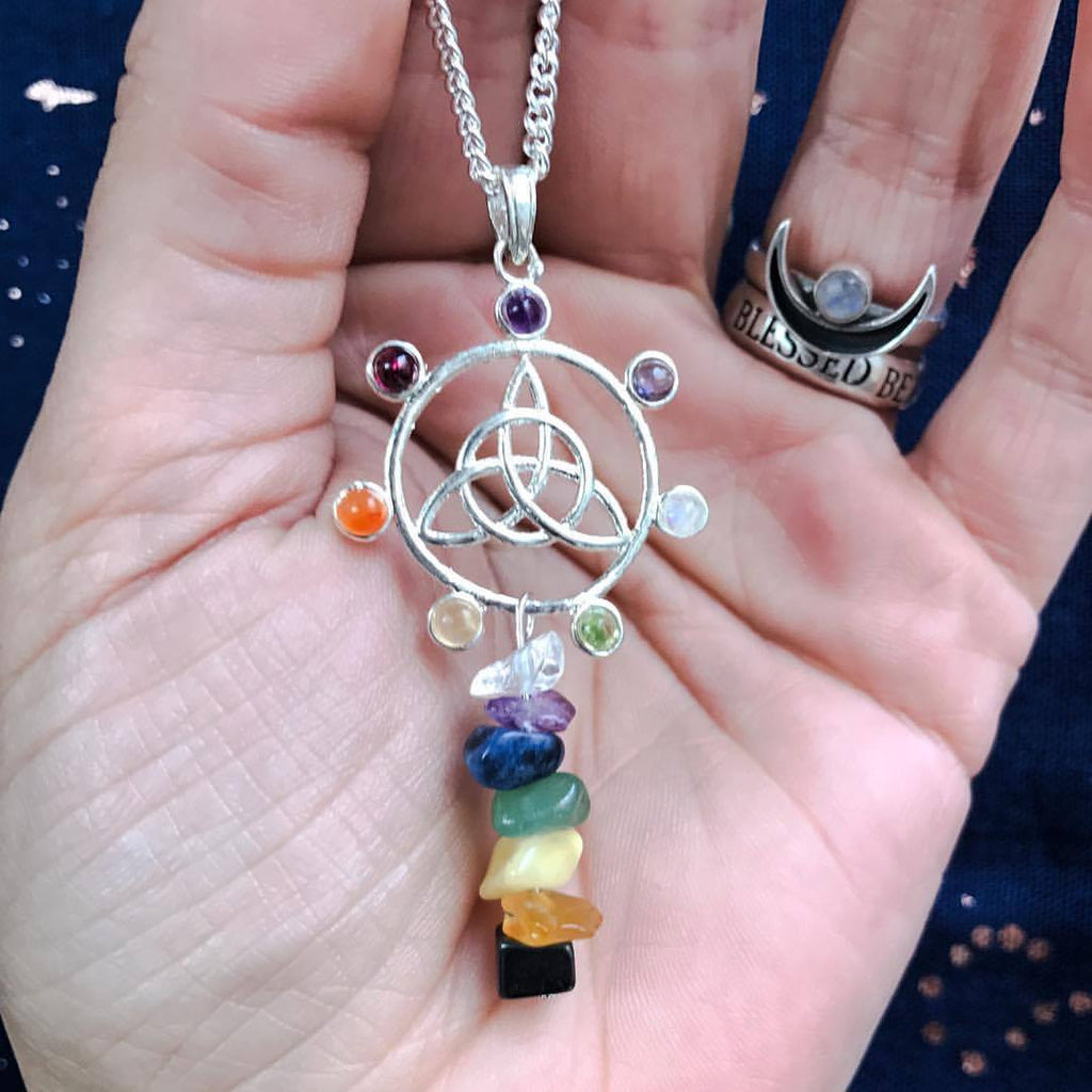 Jewellery,Chakra Items,Angels, Gods & Goddess 20 Inch Chain Triquetra Falls Chakra Necklace