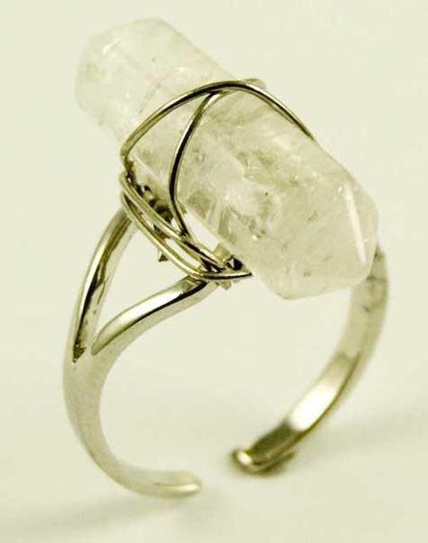 Jewellery Clear Quartz Crystal Point Energy Ring