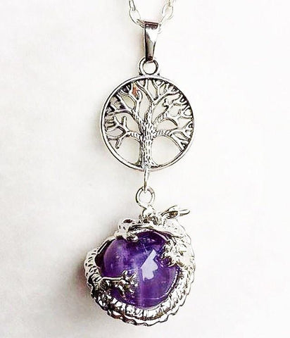 Jewellery,Home & Outdoor Decoration,Witch & Spell Craft Amethyst / Tree Of Life / Cord Ancients of Protection Necklace