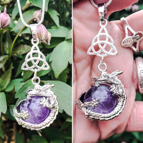 Jewellery,Home & Outdoor Decoration,Witch & Spell Craft Amethyst / Triquetra / Cord Ancients of Protection Necklace