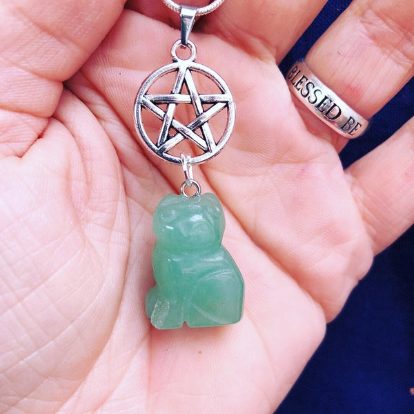 Jewellery,Home & Outdoor Decoration,Witch & Spell Craft Aventurine / Chain Cats Of The Craft Necklace