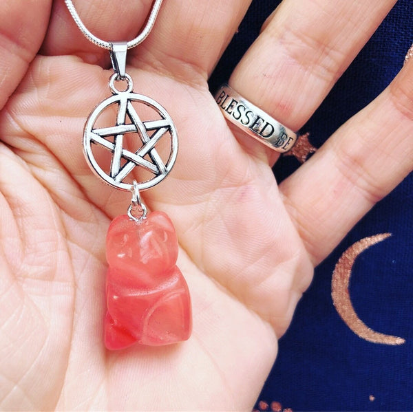 Jewellery,Home & Outdoor Decoration,Witch & Spell Craft Cherry Quartz / Chain Cats Of The Craft Necklace