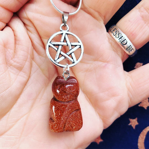 Jewellery,Home & Outdoor Decoration,Witch & Spell Craft Goldstone / Chain Cats Of The Craft Necklace
