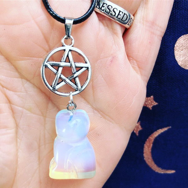 Jewellery,Home & Outdoor Decoration,Witch & Spell Craft Opalite / Chain Cats Of The Craft Necklace
