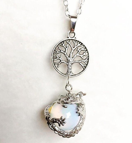 Jewellery,Home & Outdoor Decoration,Witch & Spell Craft Opalite / None / Cord Ancients of Protection Necklace