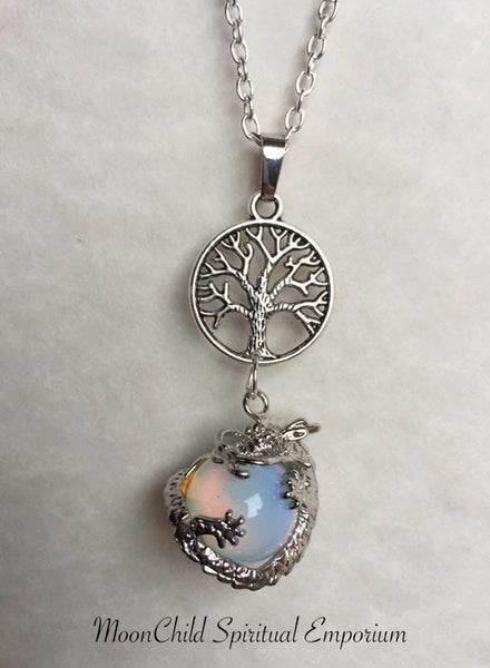 Jewellery,Home & Outdoor Decoration,Witch & Spell Craft Opalite / Tree Of Life / Cord Ancients of Protection Necklace